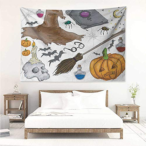 alisos Halloween,Wall Decor Tapestry Magic Spells Witch Craft Objects Doodle Style Illustration Grunge Design Skull 93W x 70L Inch Tapestry Wallpaper Home Decor Multicolor ()
