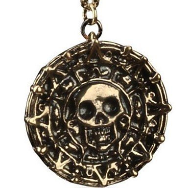 Pirates Of The Caribbean Aztec Antique Gold Skull Pendant Necklace Exaggerated Men Fashion Vintage Necklace ( Color : Bronze )