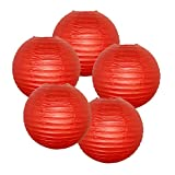 """Just Artifacts 12"""" Dark Red Paper Lanterns (Set of 5) - Click for more Chinese/Japanese Paper Lantern Colors & Sizes!"""