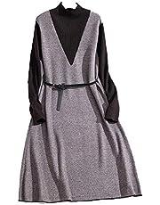 DaQingYuntur Knitted Autumn and Winter Two-Piece Waistband Collar Temperament Sweater Dress (Color : A)