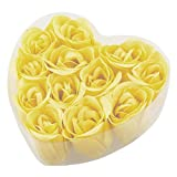 uxcell® 12 Pcs Bathing Fragrant Yellow Rose Bud Flower Petal Soap + Heart Shape Box