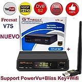 DSstyles Freesat V7S HD FTA Digital Satellite TV Receiver DVB-S2/S Support BissKey 1080P US Plug