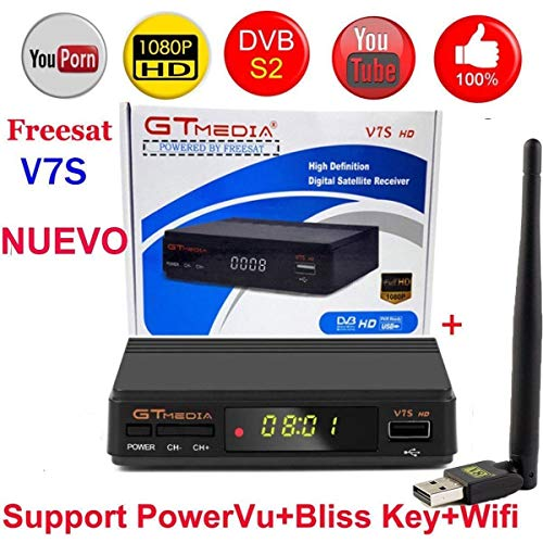 MeterMall Electronics Freesat V7S HD FTA Digital Satellite TV Receiver DVB-S2/S Support BissKey 1080P US Plug