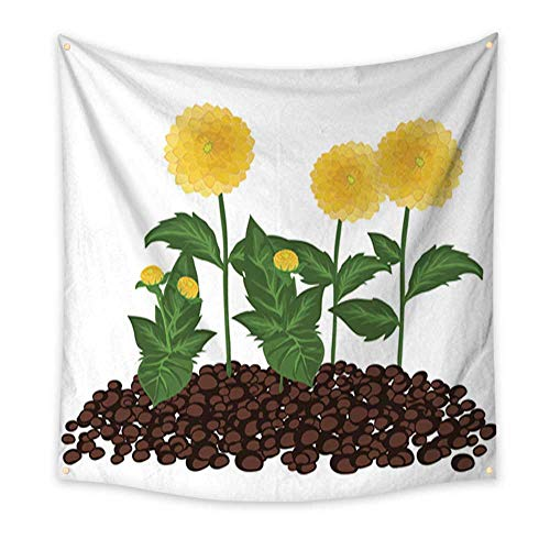 Anniutwo Tapestry Art Set of Summer Dahlia Flowers Growing in The Soil Bedspread Dorm Accessories Decor 32W x 32L Inch ()