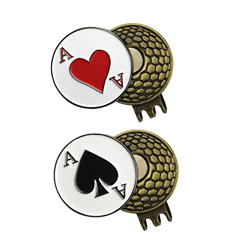 PINMEI 2 Sets of Golf Ball Marker with Magnetic Golf Hat Clip (ACE of Heart and ACE of Spades)