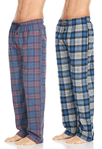 Men's Cotton Super-Soft Flannel Plaid Pajama Pants/Lounge Bottoms with Pockets, Blue Red/Grey Blue, Small