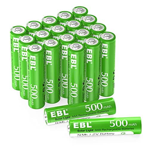 EBL AAA Rechargeable Batteries 1.2V Solar Batteries for Outdoor Garden Solar Lights, 500mAh 20 Counts Low-self Discharge AAA Batteries