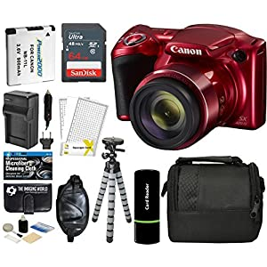 51cnuUx6w6L. SS300  - Canon PowerShot SX420 is Digital Camera (Red) with 20MP, 42x Optical Zoom, 720p HD Video & Built-in Wi-Fi + 64GB Card…