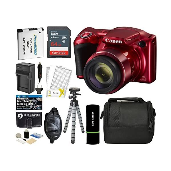 51cnuUx6w6L. SS600  - Canon PowerShot SX420 is Digital Camera (Red) with 20MP, 42x Optical Zoom, 720p HD Video & Built-in Wi-Fi + 64GB Card…