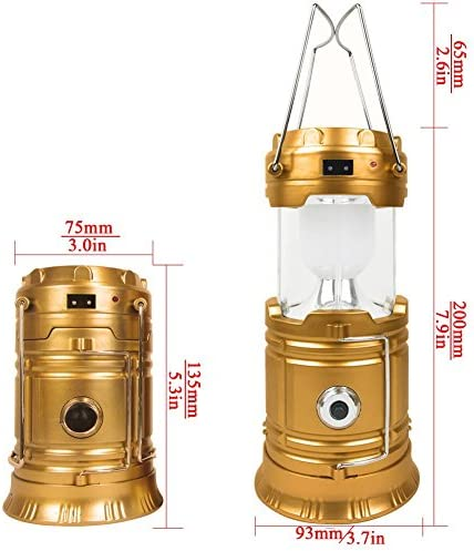 ZLXING Solar Lantern Portable Collapsible Rechargeable for Outdoor Camping Hiking Emergency,3 Colors Gold