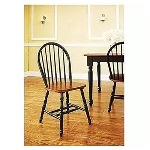 Better Homes and Gardens Autumn Lane Windsor Chairs, Set of 4, Black and Oak - Black Windsor Chair