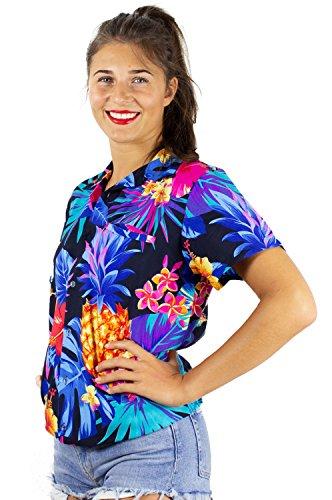 (King Kameha Funky Hawaiian Shirt Blouse, Shortsleeve, Pineapple, Black Blue, XXL)
