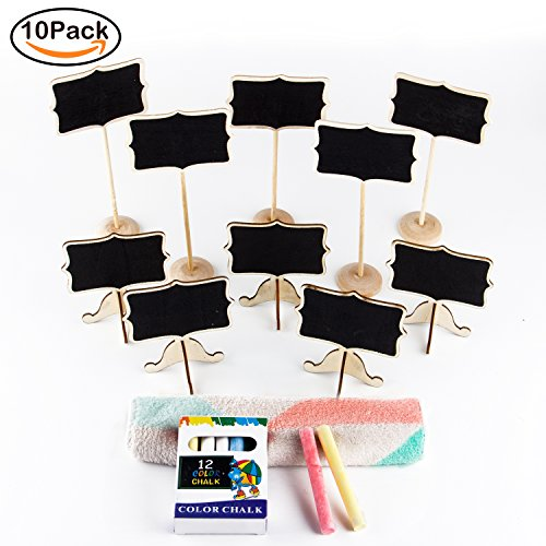 R • HORSE Mini Chalkboard Set 10 pcs with Stand, Colorful Erasable Chalk Markers And Cleaning Cloth for Message Board Signs Rectangle Wedding Party Table Numbers Place Cards Food Name Card Decorative (Chalkboard Cloth)