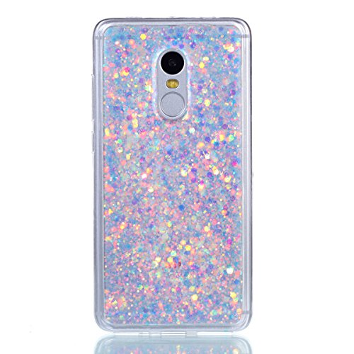 Redmi Note 4 Case,Gift_Source [Ultra-Thin] Flexible TPU Gel Rubber Luxury Sparkle 3D Bling Diamond Glitter Paillette Cover Shock-Absorption Bumper Case for Xiaomi Redmi Note 4 [White]