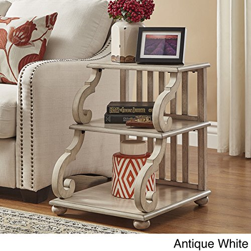 TRIBECCA HOME Lorraine Wood Scroll End Table in Antique White