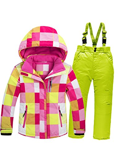 Mallimoda Boy's Girl's Winter Colorblock Ski Jacket 2-Piece Snowsuit Pink 3 Size 7 by Mallimoda