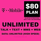 T-mobile Sim Card Unlimited Talk, Text, Web & International Calls - First Month $95 Plan Free