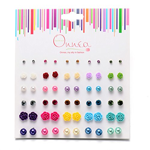 Onnea Multi Pairs Disc Ball Earrings Set for Girls, Hypoallergenic (30Pairs (Kids Earring)