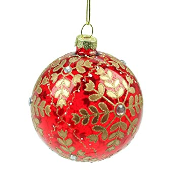 Red Glass & Gold Snowflake Christmas Bauble (8cm): Amazon.co.uk ...
