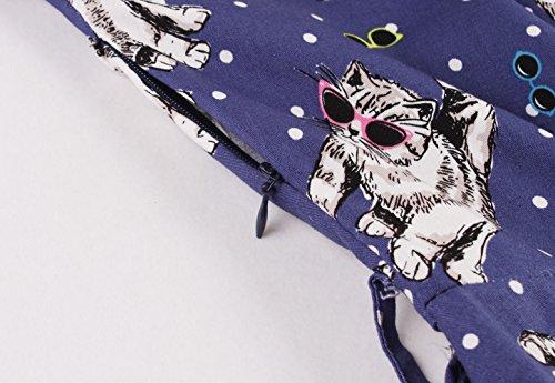 Protezione Cintura manicotto Blu Con Aecibzo Vintage Ballo Abiti Da Rockabilly Donne Retrò 1950 7PF8w1