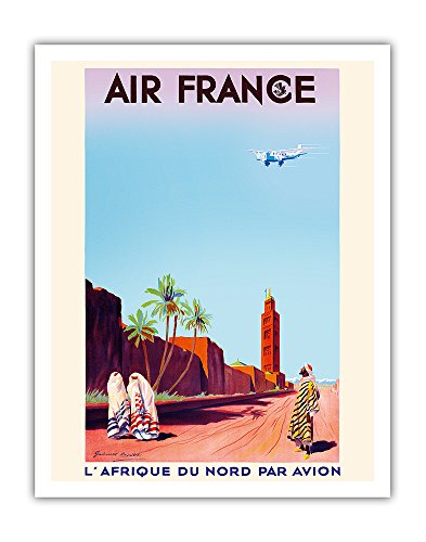 Marrakech, Morocco - North Africa by Air (L'Afrique Du Nord Par Avion) - France - Vintage Airline Travel Poster by Maurice Guiraud-Riviére c.1934 - Fine Art Print - 11in x 14in