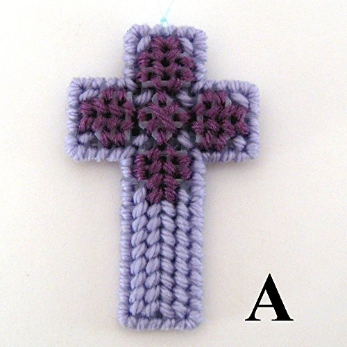 Plastic Canvas Cross (Plastic Canvas Shades of Purple Easter Cross Decoration)