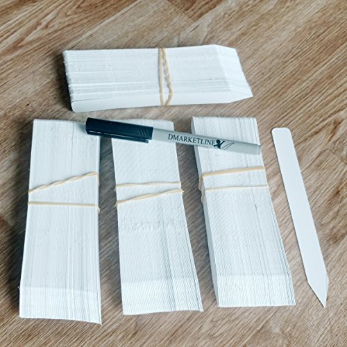 400 6 x 5/8 White plastic plant stake labels tags pot markers etiquetas easy to write with most markers reusable help You to keep tracking your seedlings BY DMARKETLINE