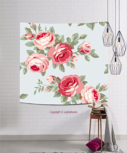 sophiehome Tapestries283864961 Raster version Seamless vintage pattern with roses Floral wallpaper with blooming pink flowers hanging magical thinking tapestry 47.2W x 47.2L (Halloween Makeover London)