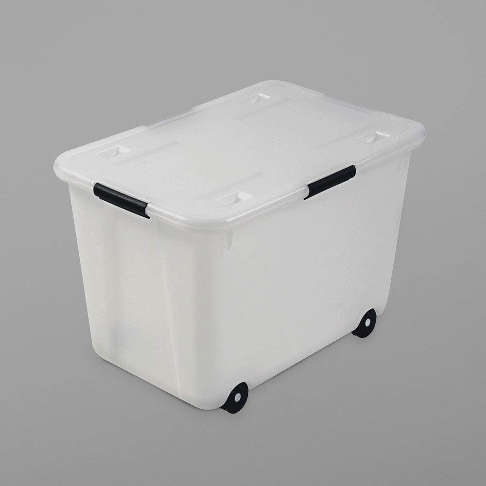 TableTop King 34009 15 Gallon Legal/Letter Size Clear Plastic Rolling Storage Box by TableTop King