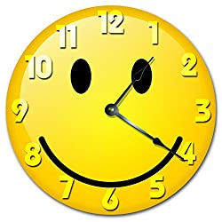 YELLOW SMILEY FACE CLOCK Large 10.5 Wall Clock Decorative Round Novelty Clock