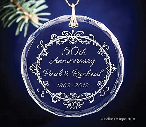 50th, 25th, 60th or ANY Wedding Anniversary Year Keepsake Vintage Wreath Christmas Ornament Circle Glass Optic Crystal Personalize with names and years