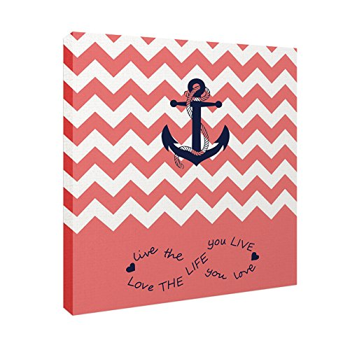Anchor Love The Life You Love Chevron Zig Zag Ripple Coral White - Oil Painting On Canvas with Wood Frame Modern Wall Art Pictures For Home Decoration,12''x12'' by Prime Leader (Image #2)'