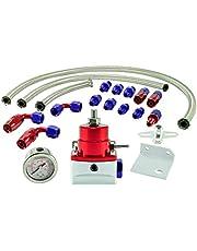 Regulador de presión de gasolina universal AN6 ajustable con manómetro, conectores y adaptador.