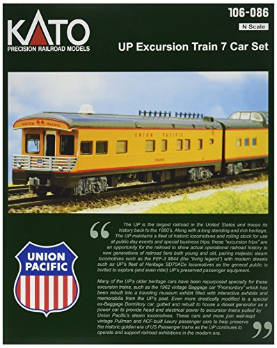 Kato USA Model Train Products N Scale Union Pacific Excursion Train 7-Car Set Baggage Dormitory Car