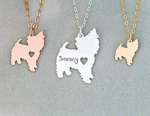 Yorkie Dog Necklace - IBD - Yorkshie Terrier - Personalize Name Date - Pendant Size Options - 935 Sterling Silver 14K Rose Gold Filled Charm - Fast 1 Day Production