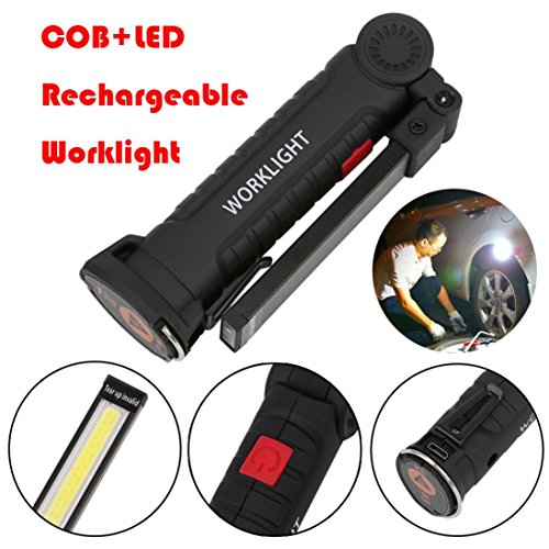 Flexible Torch Light (Besde COB+LED Rechargeable Magnetic Torch Flexible Inspection Lamp Cordless Worklight (A, B))