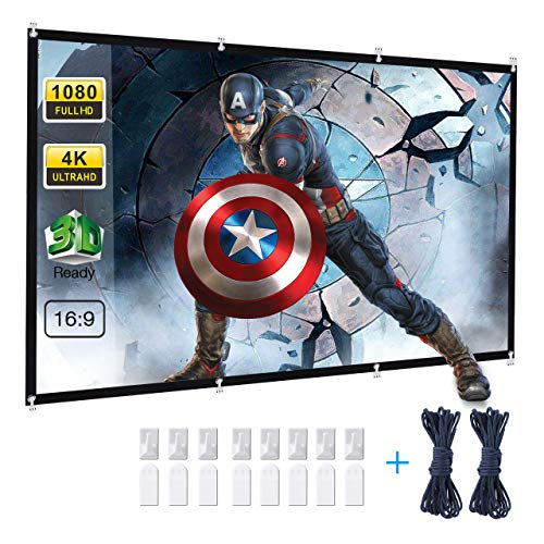 Projector Screen, Powerextra 120 inch 16:9 HD Foldable Anti-Crease Portable Washable Projection Screen for Home Theater Outdoor Support Double Sided ()