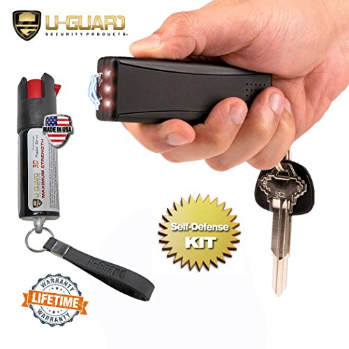 Smallest Stun Gun Personal Alarm Keychain Flashlight Kit Taser And Pepper Spray Combo Non Lethal Self Defense Weapons Compact Electric Tazers Mini Pepper Spray For Men Or Women Self-Defense (BLACK) - Spray Combo
