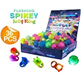 36 Pack Flashing Led Bumpy Rubber Rings Party Jelly Light Up Finger Toys for Kids & Adults
