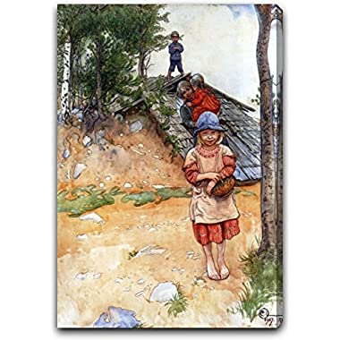 By the Cellar by Carl Larsson - 18  x 24  Gallery Wrapped Premium Canvas Print