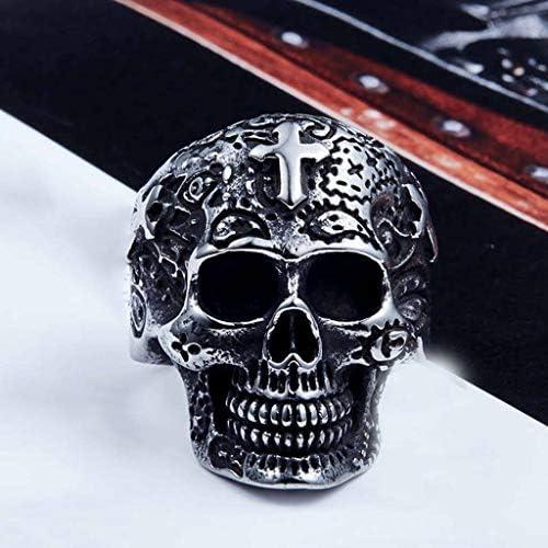 リング 頭蓋骨,性別 チタン鋼 パンク 金メッキ クロス 刻まれた 人 リング-A-13