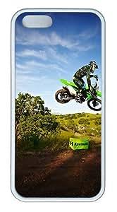 IMARTCASE iPhone 5S Case, Kawasaki Motocross Jump Case for Apple iPhone 5S/5 TPU - White