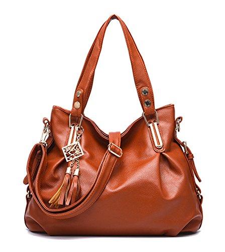 Keshi Pu Cool Damen Handtaschen, Hobo-Bags, Schultertaschen, Beutel, Beuteltaschen, Trend-Bags, Velours, Veloursleder, Wildleder, Tasche Yellow Braun