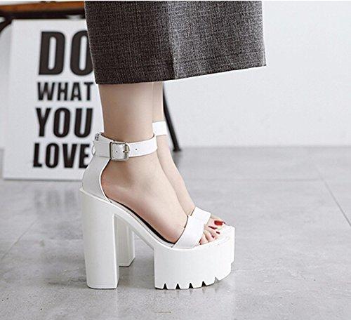 Hentian KHSKX Hauts six Chaussures Haut Avec Des Cours 8 Blanc Talons 5Cm Grossiers D'Été Sandales Nuit Haut Au De La Thirty Épais frwndqrx