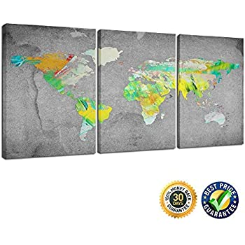 Amazoncom Creative Art Panel Wall Art Vintage World Map - Grey world map canvas