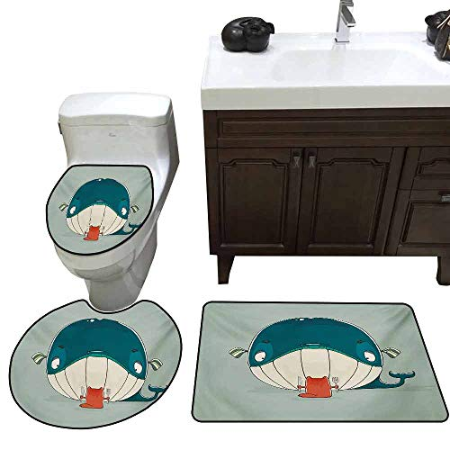(Toilet Cover 3 Piece Set Whale Greedy Little Cat Sitting Down to Dine on A Huge Fish Dinner of Whale Cartoon Elongated Toilet Lid Cover Set Almond Green Teal)