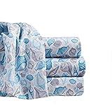 By The Seashore Bed Sheet Set Seashell Design 1 Flat Sheet 1 Fitted Sheet 1 Pillow Case Queen Blue