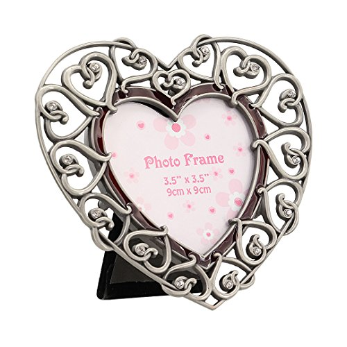 Multifit Modern Metal Antique Pewter Desktop Photo Frames Baroque style Antiquated Frame(Heart)