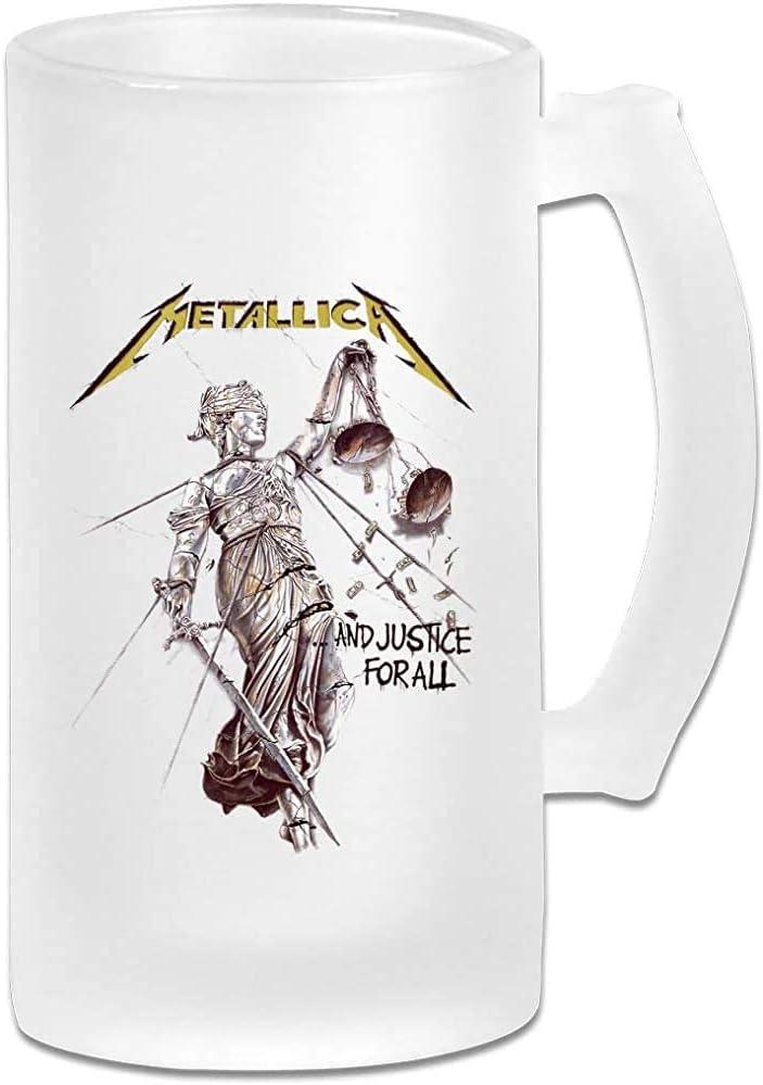 Taza de jarra de cerveza de vidrio esmerilado impresa de 16 oz - Metallica-Justice - Taza gráfica