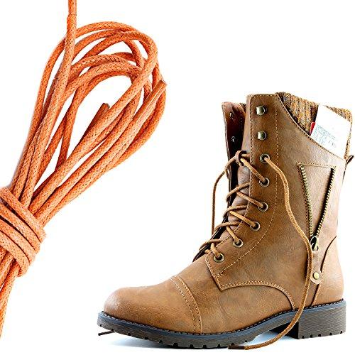 Dailyshoes Womens Militaire Lace Up Gesp Combat Laarzen Rits Sweater Enkel Hoge Exclusieve Creditcard Zak, Oranje Tan Pu
